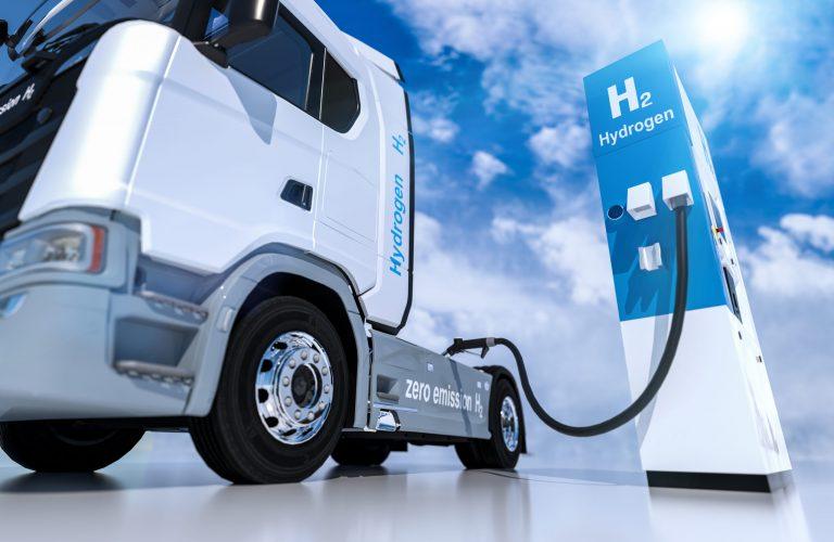 hydrogen logo on gas stations fuel dispenser. h2 combustion Truck engine for emission free ecofriendly transport. 3d rendering